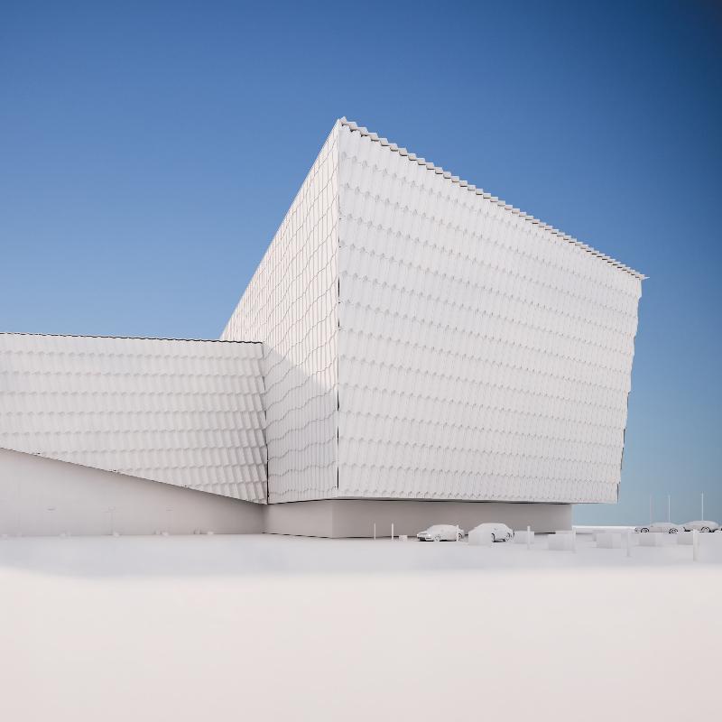 3d render, visualization of modern ,  commercial building